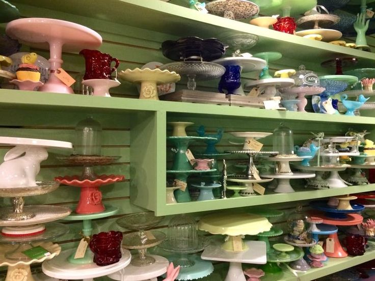 New and vintage cake stands for sale at Pryde's Kitchen & Necessities in Westport.(Sheryl Jean/Special Contributor)