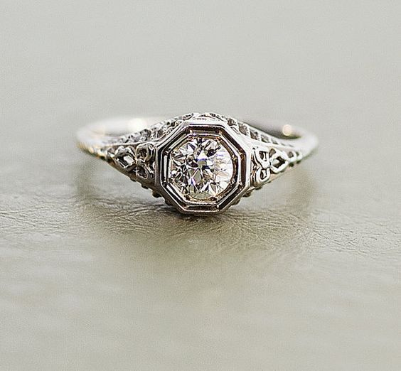 Edwardian Engagement Ring    You wont believe your eyes when you see the incredible filigree this ring has to offer! A beautiful round European