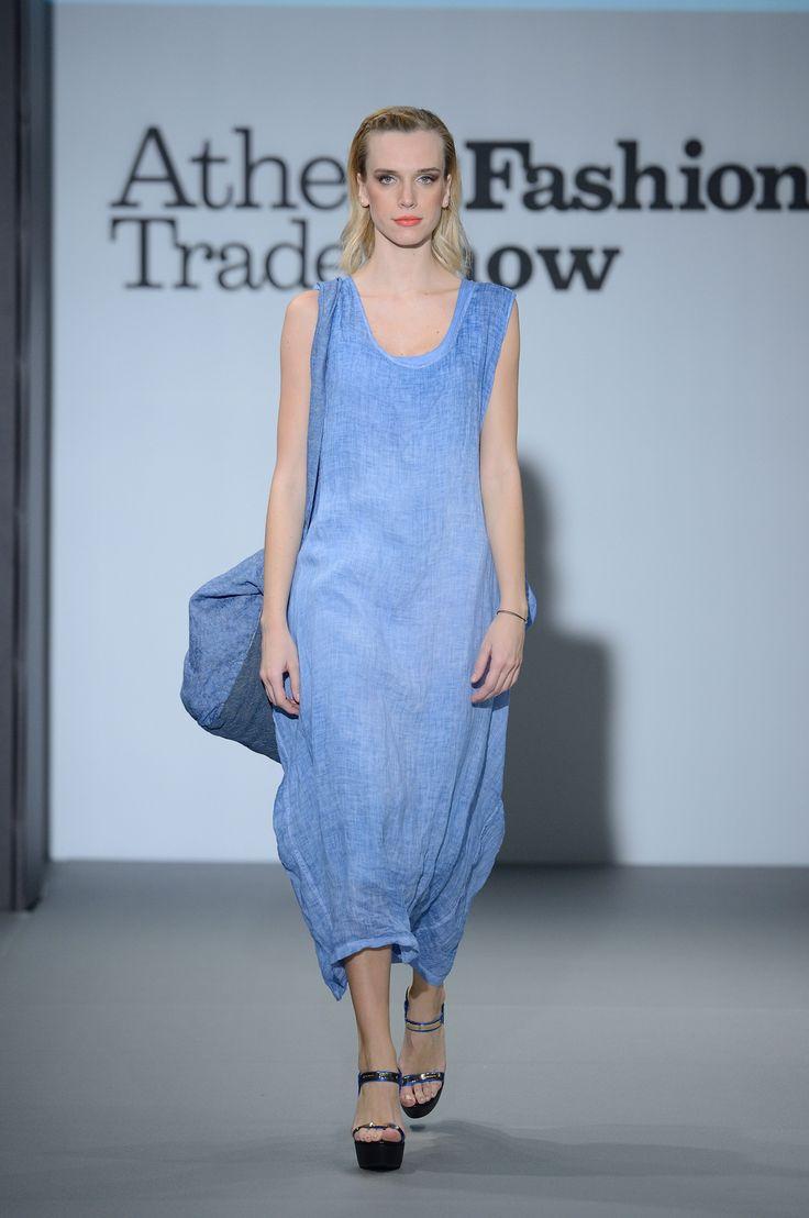 Eclectia:Elegant blue linen summer  dress 100% Natural fabrics