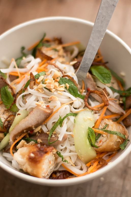 Vietnamese Rice Noodle Salad Really enjoyed the dressing on this. Served with chicken meatballs (grated ginger, soy, grated garlic)