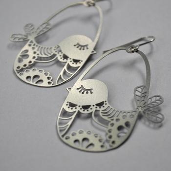 Honeybee | Birdies | Stainless steel earrings with sterling silver hooks