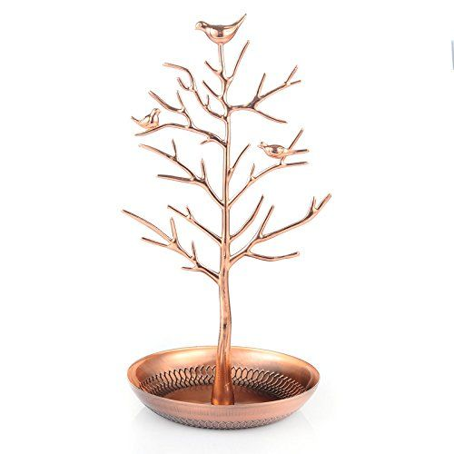 40th birthday presents for her - Silver Birds Jewelry Tree in lovely rose gold color #roomdecor #vanity