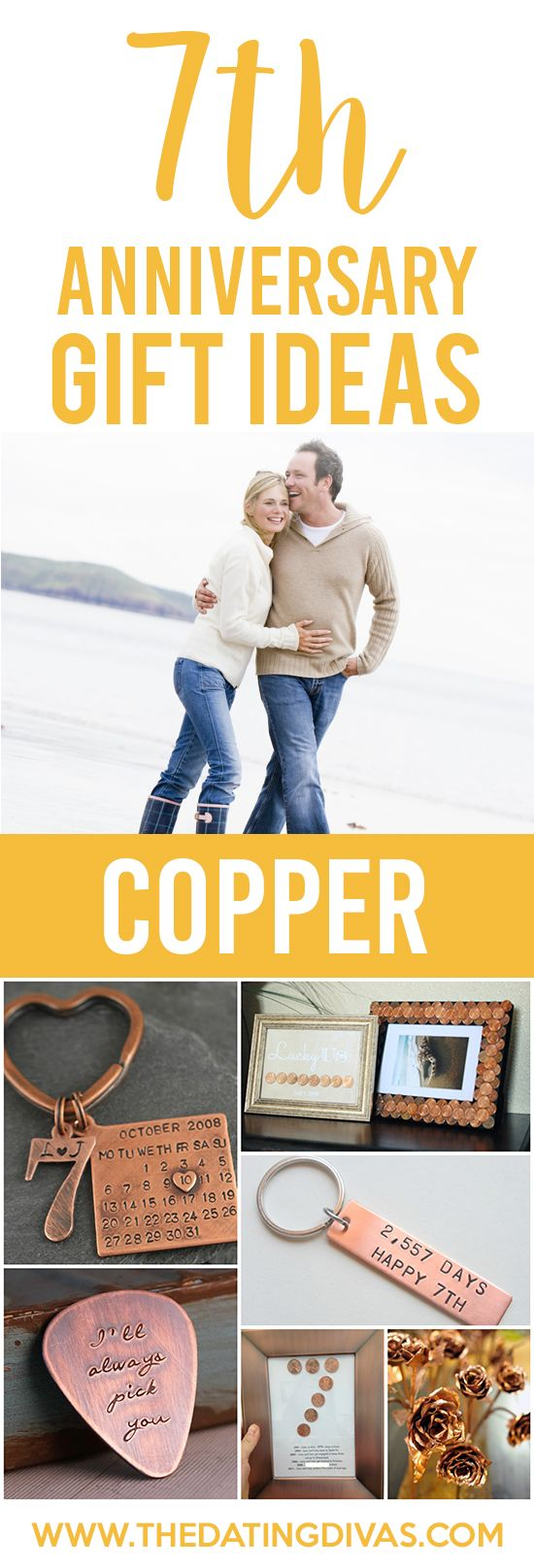 7th Anniversary Gift Ideas for your COPPER anniversary! Cute- saving this for the future. I love the penny idea.