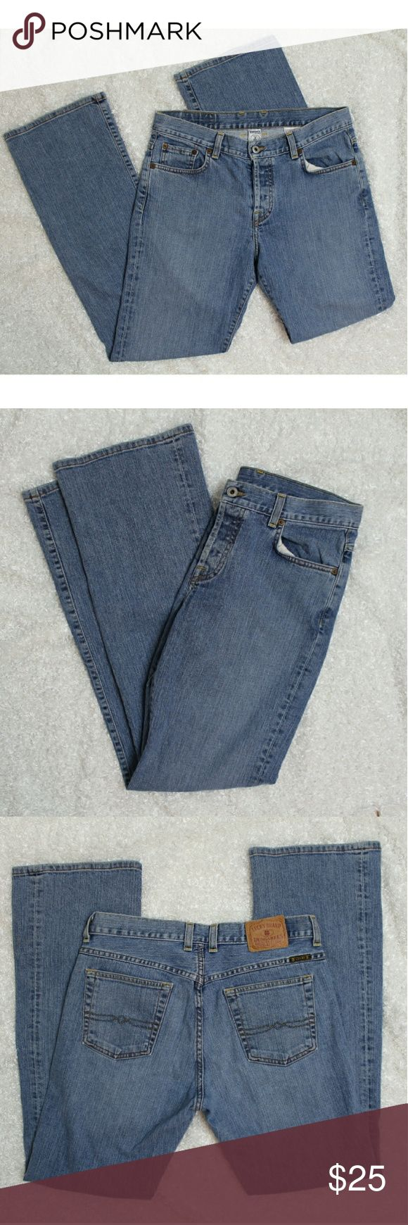 """Lucky Brand Easy Rider light blue dungarees Classic lucky brand dungaree jeans. Medium blue and straight leg. GUC, back tag is coming off a little bit Size 8/29 :: Approx Measurements:: Waist 15.5"""" Rise 9.5"""" Inseam 31"""" Lucky Brand Jeans Straight Leg"""