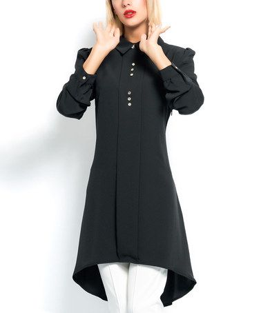 Love this Black Button-Front Hi-Low Tunic by Ironi Collection on #zulily! #zulilyfinds