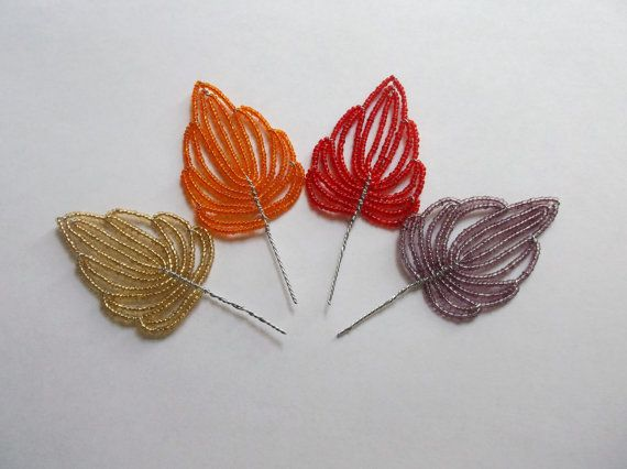 Set of 4 French Beaded Autumn Maple Leaves by BuddingCreations, $13.20