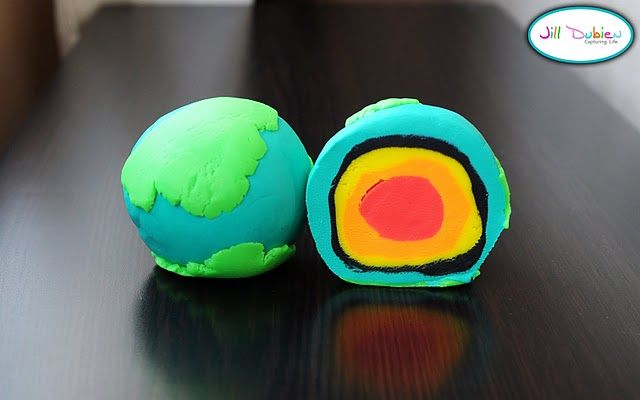 Layers of the earth with play dough . . . . pretty cool idea.  The kids would be fascinated to see it and then make it.