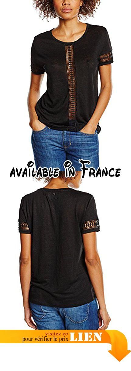 B018B50RO4 : Sud Express Tagliatel - T-shirt - Uni - Manches courtes - Femme - Noir - Medium (Taille fabricant: M). T shirt manches courtes col rond insertion dentelle