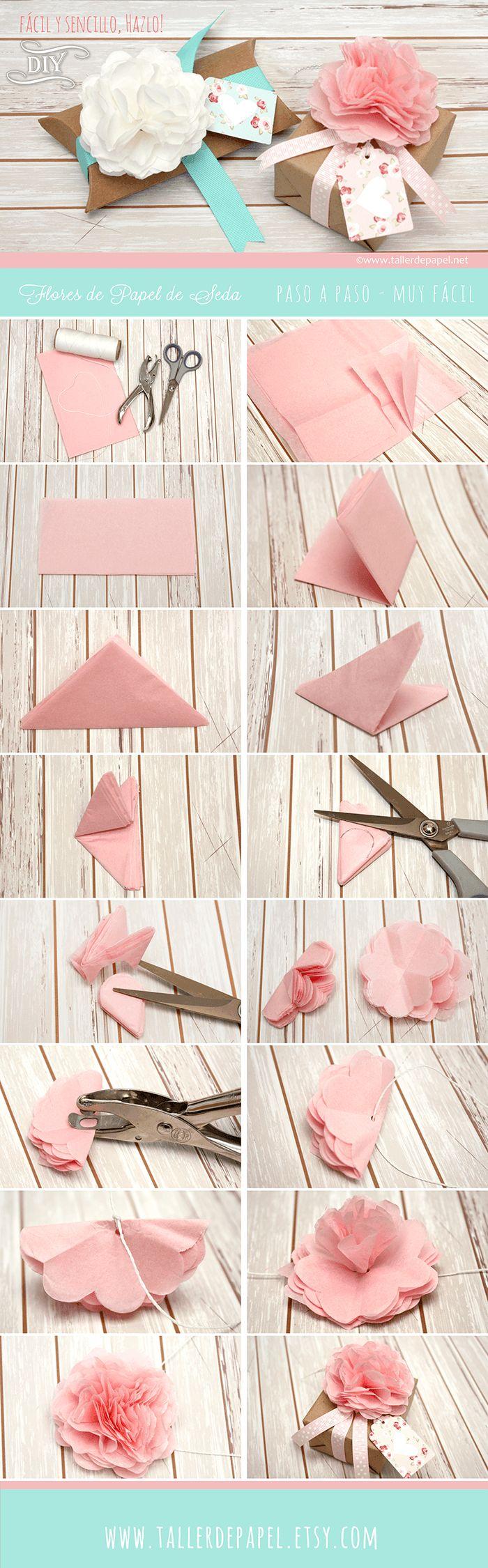 DIY Tutorial fácil y sencillo, hazlo! Flores de papel para decorar un lindo regalo para mamá. Estas lindas y delicadas flores son realmente muy hermosas y verás que el paso a paso es muy sencillo!