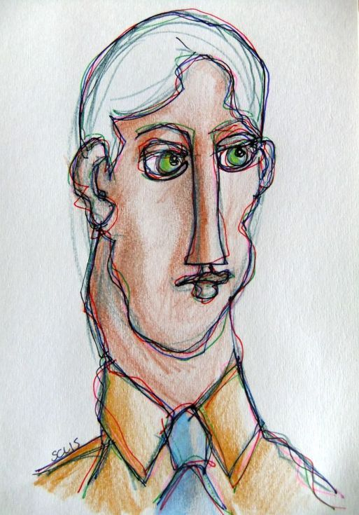 ARTFINDER: Green Eyes by Steve Clement-Large - Green eyes, blue tie, brown shirt ... pencil and ink on paper.