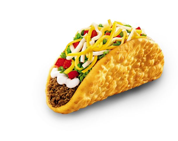Chalupa Supreme: A crispy, chewy chalupa shell filled with seasoned ground beef, reduced fat sour cream, crisp shredded lettuce, a three cheese blend and diced ripe tomatoes. You can also upgrade this item with marinated and grilled all-white-meat chicken or authentic carne asada steak.