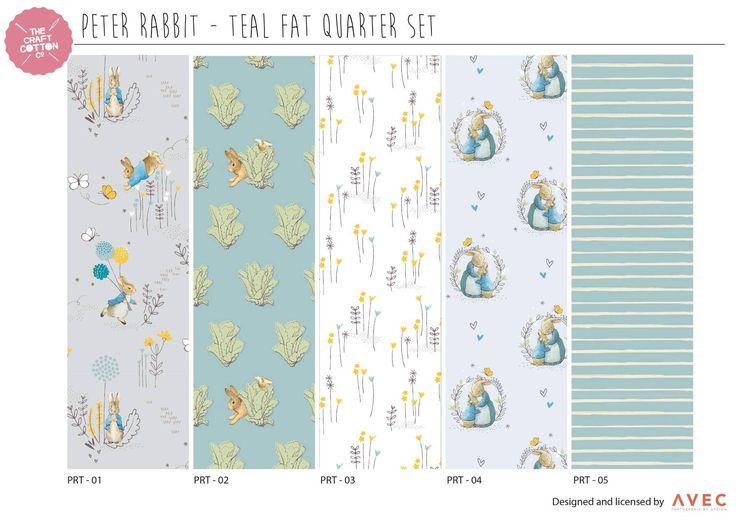 Peter Rabbit Fabric, Peter Rabbit Fat Quarter, Beatrix Potter fabric, teal fabric, Fat Quarter pack, childrens fat quarter bundle by BeasFabricHouse on Etsy