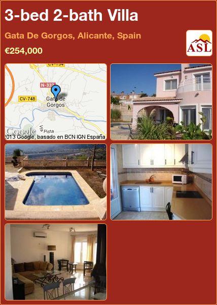 3-bed 2-bath Villa in Gata De Gorgos, Alicante, Spain ►€254,000 #PropertyForSaleInSpain