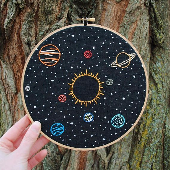 Space Embroidery Art, hand stitched Solar System -…