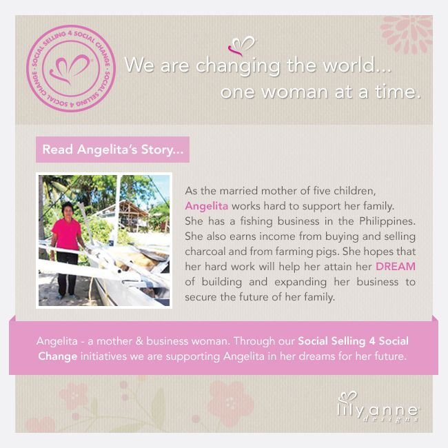 We are changing the world... one woman at a time.  We believe that when women are empowered, so too are families; communities; the world. When you partner with Lily Anne Designs® you are empowering another woman in a developing country.  Read Angelita's story...  ‪#‎LilyAnneDesigns‬ ‪#‎SocialSelling‬ ‪#‎ChangingTheWorld‬
