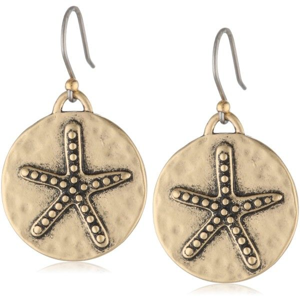 Lucky Brand Starfish Coin Earrings ($25) ❤ liked on Polyvore featuring jewelry, earrings, starfish jewelry, starfish earrings, lucky brand earrings, lucky brand jewelry and star fish jewelry