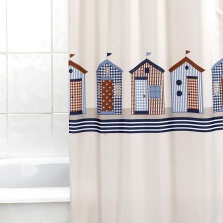 Beach Huts Shower Curtain | Dunelm