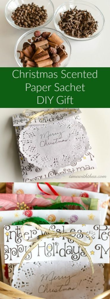 Christmas Scented Paper Sachet DIY Gift ~ Easy and fun to make paper sachets using scrapbook paper made into pouches filled with Christmas scented spices! / timewiththea.com