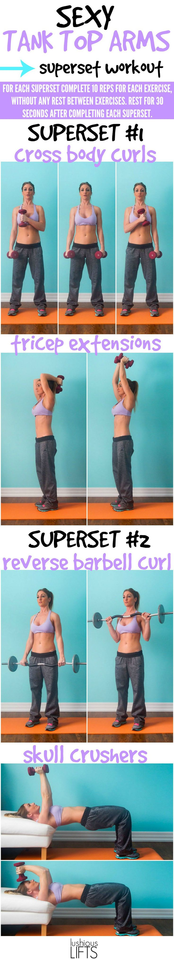 Sexy Tank Top Arms Superset Workout; because every girl wants to get rid of those chicken wings!! #fatblast