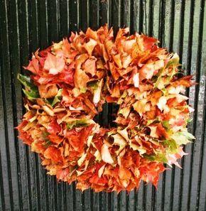 věnec na dveře, věnec z listí, podzimní věnec, podzimní kytice, kytice dušičky, kytka na hrob, sušené listí, kytice z listí, tvpoříme s dětmi