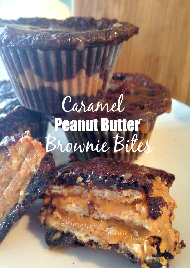 Caramel Peanut Butter Brownie Bites - Raining Hot Coupons