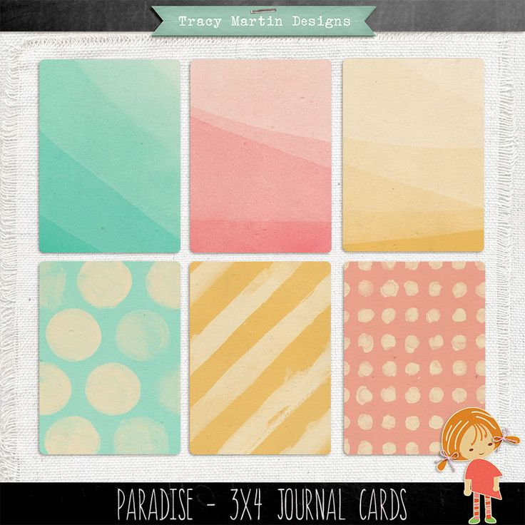 FREE Paradise 3 x 4 Journal Cards by Tracy Martin Scrapbook Designs