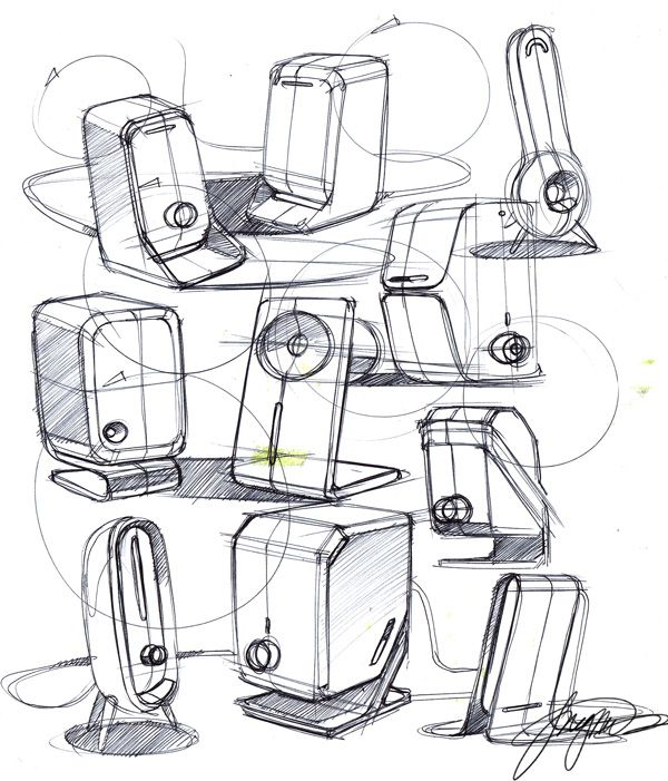 Product Sketch on small car speakers