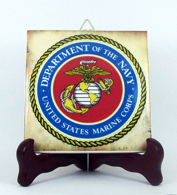 US Marines Logo Ceramic Tile Emblem Collectible by TerryTiles2014