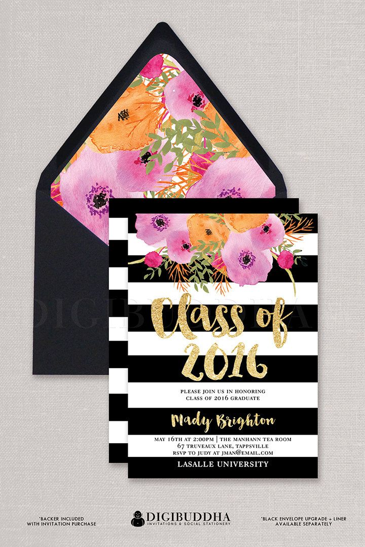 Black & White Graduation Invitation with boho chic painterly watercolor flowers and black and white stripes available at digibuddha.com