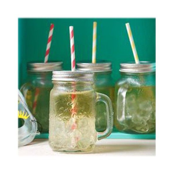 These fun Mason Style Glass Handle Jars with Lid are perfect for your juice to go, cockails or a nice cold one...