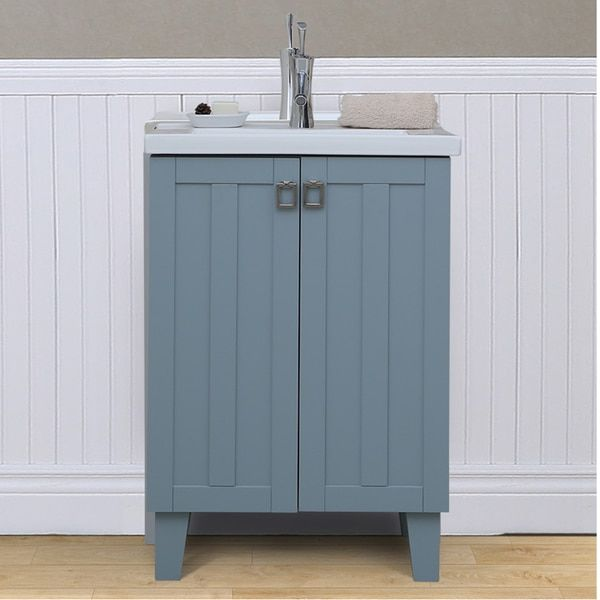 Photo Image Infurniture inch Extra thick Ceramic Sink top Single Sink Bathroom Vanity in Grey Blue Finish Thick Edge Grey Blue Finish no faucet