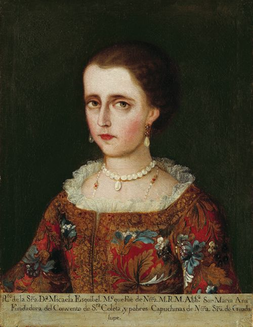 Portrait of Doña Micaela Esquibel (oil on canvas), Mexico, circa 1750. Image via Denver Art Museum.