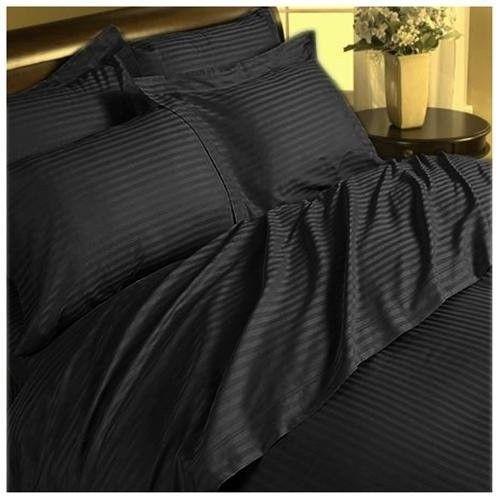 Bedding Items Deep Pocket All US Sizes 1000 TC Egyptian Cotton Black Stripe