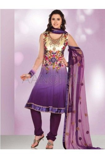Purple And Cream Net Churidar Kameez With Dupatta (Readymade 36'' to 42'')