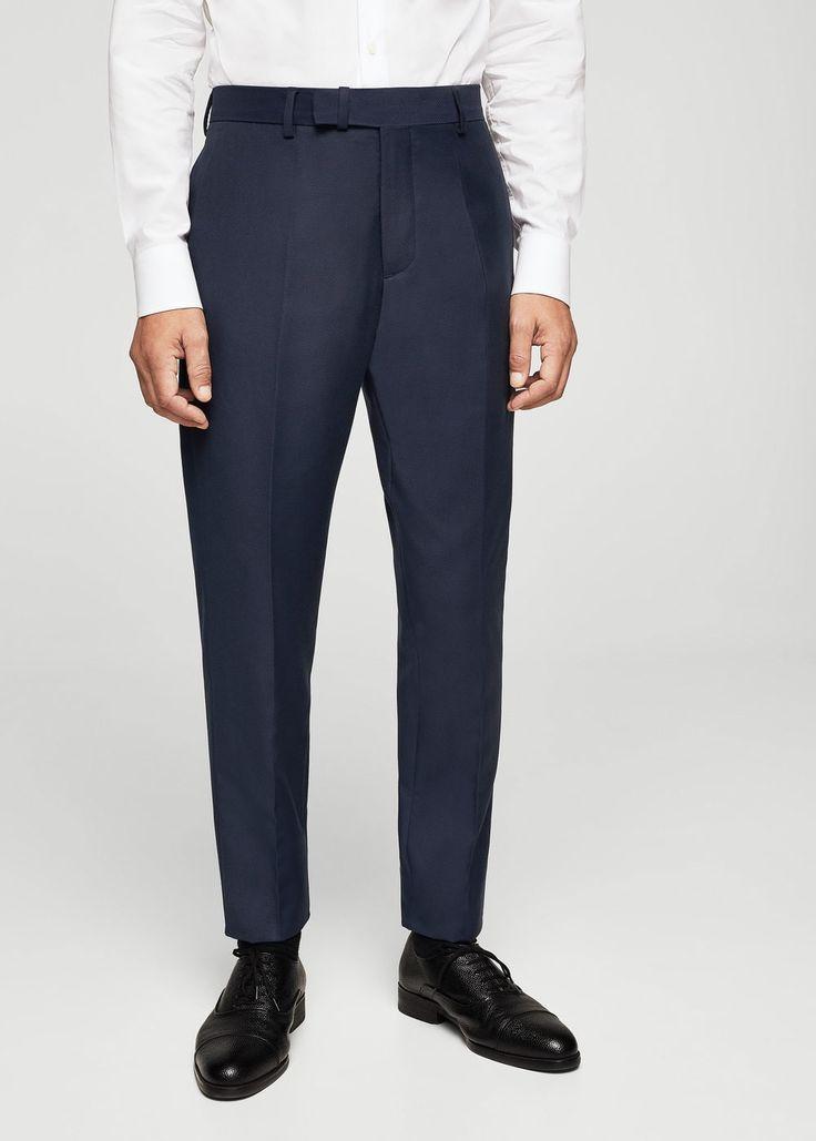 Pantalón traje slim-fit estructura - Americanas de Hombre | MANGO Man España