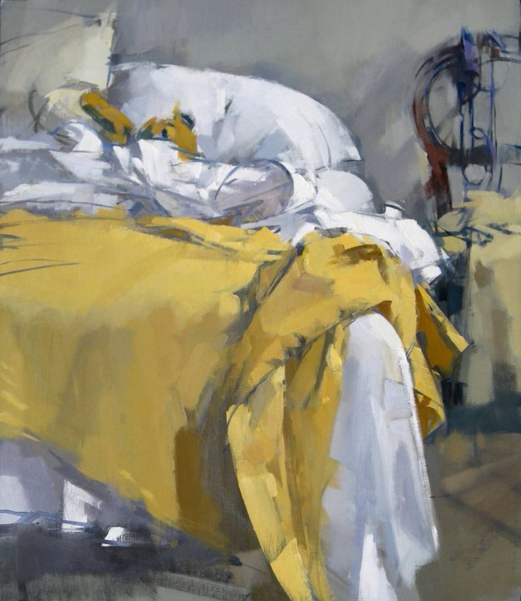 Maggie Siner - Yellow Blanket, 2011, oil on linen: Interiors Paintings, Interiors Oils Paintings, The Artists, Maggie Siner, Art Inspiration, Artists Maggie, Art Interiors, Yellow Blankets, Yellow Beds