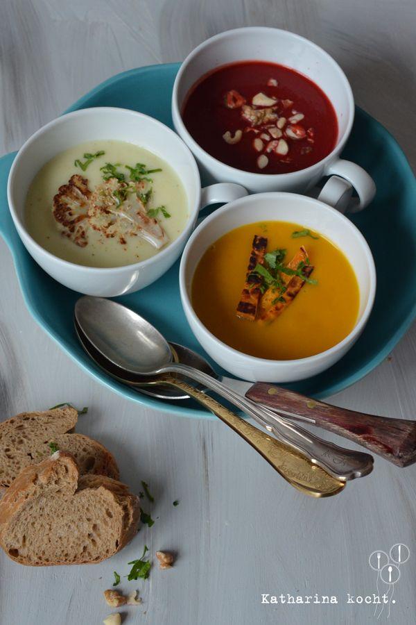 Cremige Gemüsesuppen: Rote Bete, Blumenkohl und Süßkartoffel // www.katharinakocht.com
