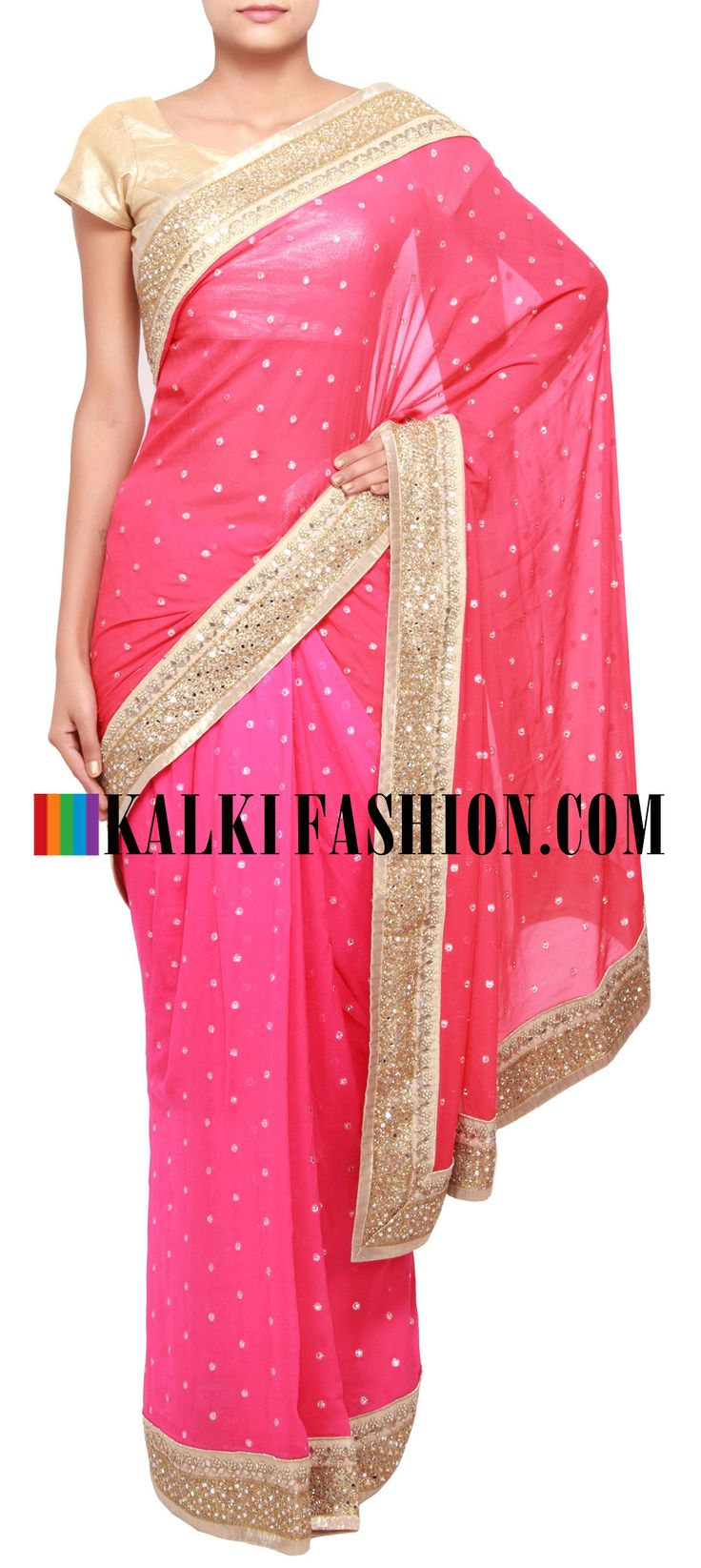 Buy Online from the link below. We ship worldwide (Free Shipping over US$100) http://www.kalkifashion.com/pink-and-red-saree-enhanced-in-mirror-border-only-on-kalki.html