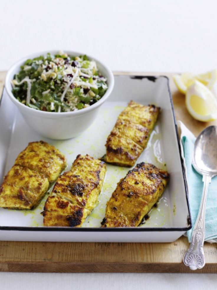 Moroccan spiced fish with couscous and raisin salad | The Heart Foundation
