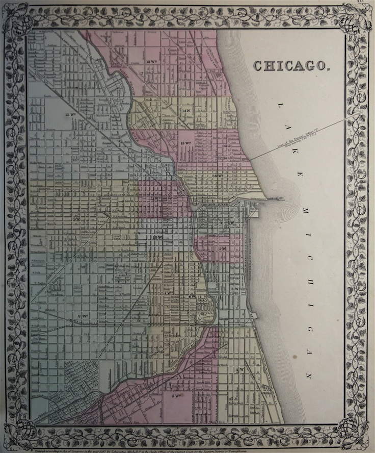 Vintage Chicago Map  Chicago  Pinterest