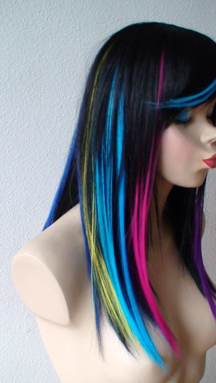 Hair With Rainbow Bangs Rainbow ombre/black wig. long straight hair