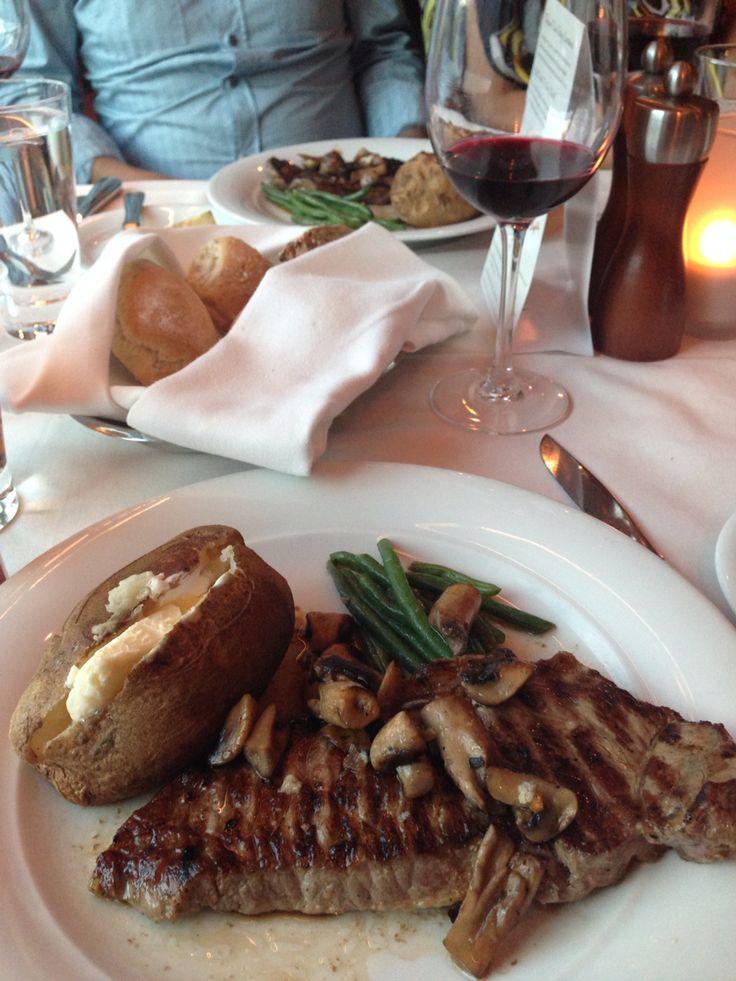 Steak dinner on our Alaskan Cruise aboard the Norwegian Sun.