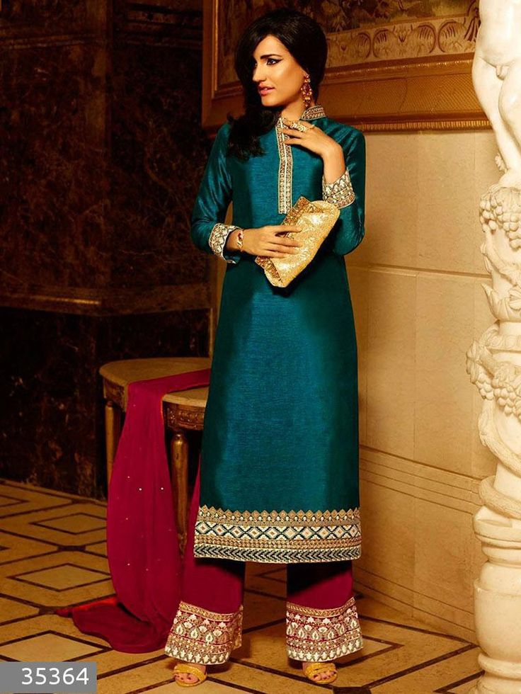 Green with Red Embroidered Raw Silk Salwar Kameez Suit