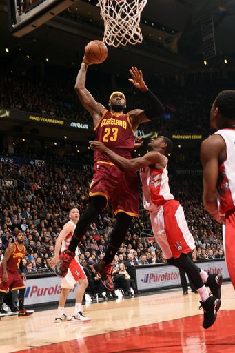 TORONTO, ON - MARCH 4: LeBron James #23 of the Cleveland Cavaliers dunks against the Toronto Raptors... - Photo by Ron Turenne/NBAE via Getty Images