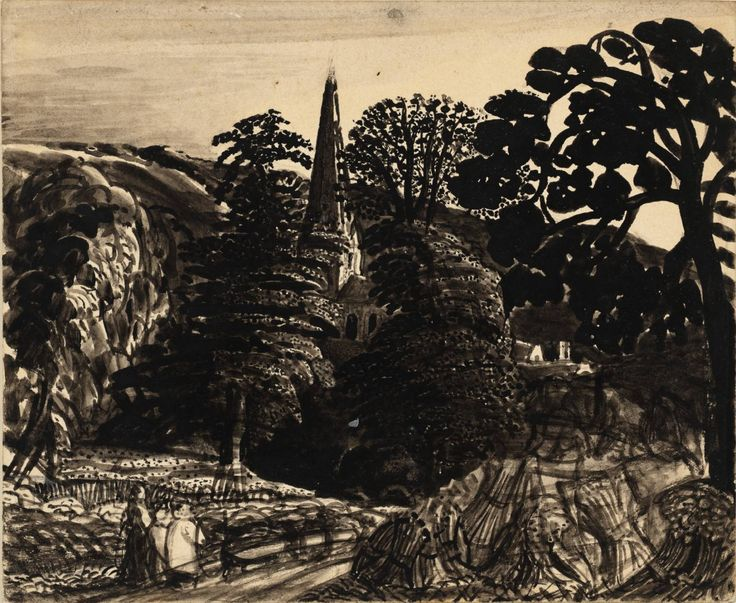 'A Church among Trees' (c.1830) by British artist Samuel Palmer (1805-1881). Ink on card, 152 x 184 mm. via the Tate