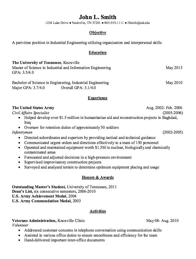 Industrial Engineering Resume Example - http\/\/resumesdesign - concierge resume