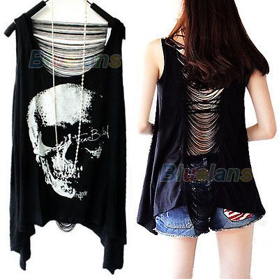 Fashion Tassel Skull Punk Singlet Long Tee Shirt Tank Top Blouse T-Shirt Vest