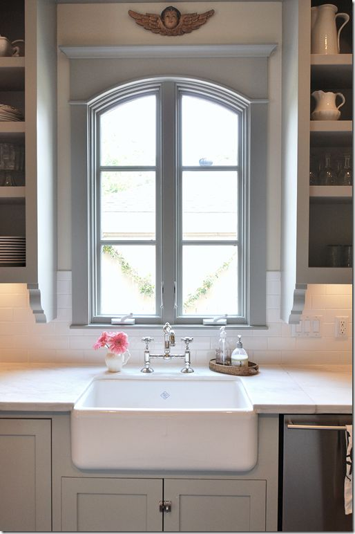 Window Above Sink Kitchen Sally Wheat Interiors Gorgeous Gray Design With Cabinets My Dream