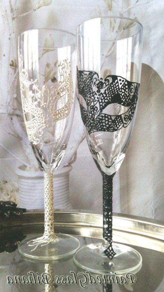 Wedding Glasses Champagne Flutes Set of 2 Lace domino Masquerade mask in Black a…