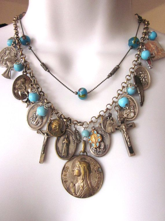 Religious Assemblage Charm Necklace Vintage by JeepersKeepers, $185.00